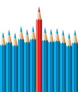 vector pencils, leadership concept